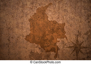 colombia map on a old vintage crack paper background