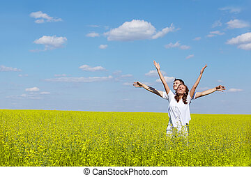 Freedom - Image of joyful girl and her boyfriend standing in...