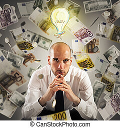 Think of how to get rich - Man with light bulb over his head...
