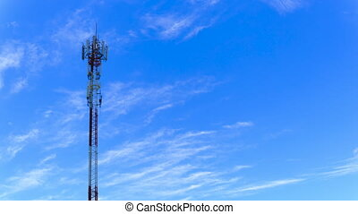 Antenna for radio, television and telephone white cloud and Blue sky