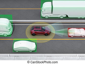 Autonomous car concept illustration - Concept illustration...