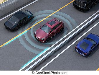 Autonomous car concept illustration - Concept illustration...