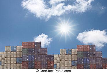 hamn, frakt, Behållare,  stack, hav