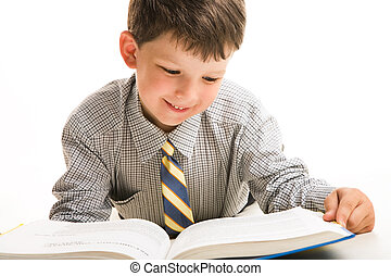 Knowledge - Portrait of diligent schoolboy in casual...