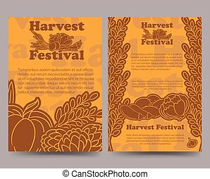 Harvest festival brochure template with vegetables - Harvest...