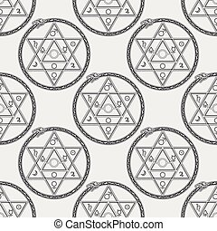 Seamless pattern with mystical astrological sign alchemy...