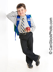 Youngster - Photo of smiling youngster his elbowing against...