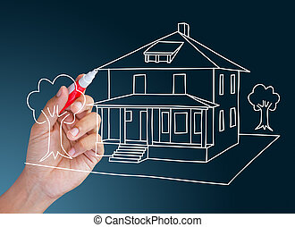 hand drawing dream home