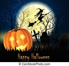 Halloween spooky background with moon fence and pumpkin....