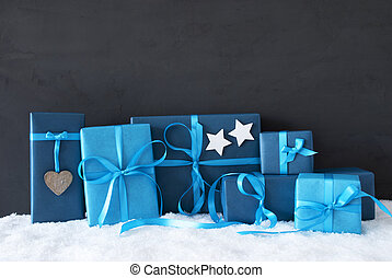 Blue Christmas Gifts, Black Cement Wall, Snow - Blue Gifts...