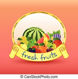 Label with fruits - Illustration of  Label with fruits