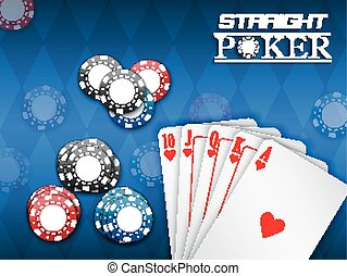 Royal flush and poker chips - Illustration of Royal flush...