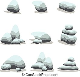 Set stone cartoon of vector