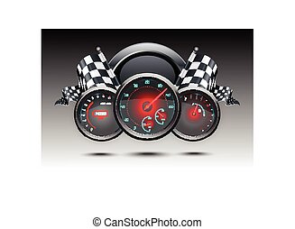 Speedometer and checkered flags - Illustration of...