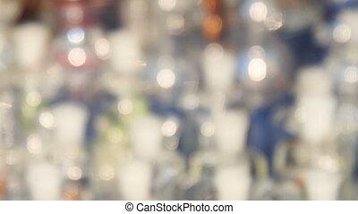 Closeup Glass Hookahs on Mobile Counter in Street - closeup...