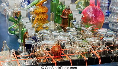 Closeup Mobile Counter with Hookah Glass Facilities in...