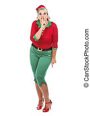 elf showing quiet sign - blonde woman wearing elf christmas...