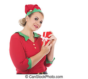 blond elf female holding present - blonde woman wearing elf...
