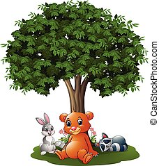 Cartoon wild animals under the tree