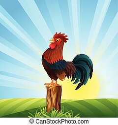 Cartoon Rooster crowing at dawn