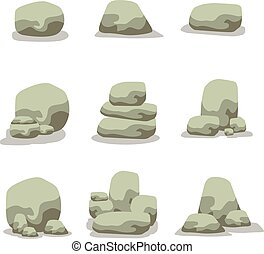 Vector illustration of stone rock set