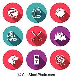 Vector Set of Ski Resort Icons. Helmet, Funicular, Weather,...