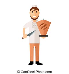 Vector Shawarma Chef, Arabic Food Restaurant. Flat style...