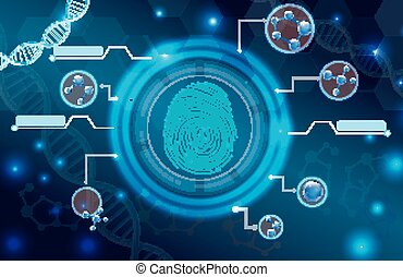Fingerprint with concept abstract - Illustration of...