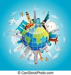 Planet earth travel the world - Illustration of Planet earth...