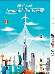 World landmarks. Travel and tourism - Illustration of World...