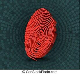 Red fingerprint scanner - Illustration of Red fingerprint...