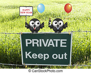 Happy New Year - Comical Happy New Year message with one...