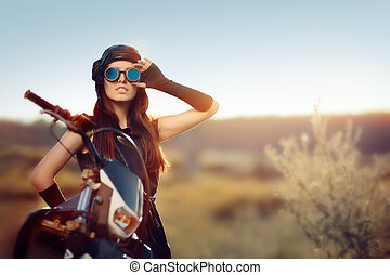 Steampunk Woman with Her Motorcycle - Portrait of post...