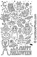 Set of cartoon characters and elements for Halloween. Outline drawing.