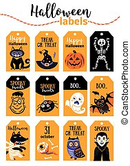 Set of vintage Happy Halloween badges and labels Cartoon...