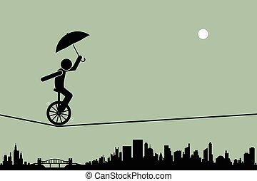 Unicycle on tightrope wire - Person riding a unicycle and...