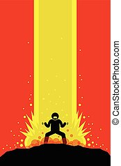 Superpower Superhero - Superhero superhuman charging up his...