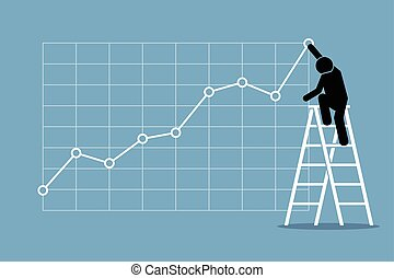 Businessman Growth Chart - Businessman climbing up on a...