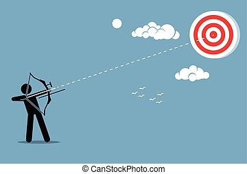 Man shooting target with arrow - Person using a bow to aim...