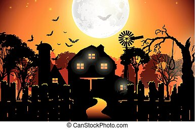 Halloween background with scary - Illustration of Halloween...