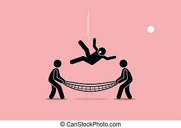 Safety net - Man falling down and saved by people using...