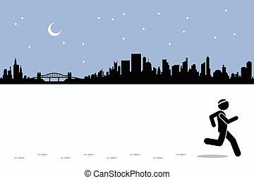 Runner runs in the city - Runner runs while leaving...