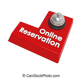 Online Reservation Enter Button isolated on white...