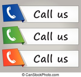 call us paper design web buttons - Illustration of call us...