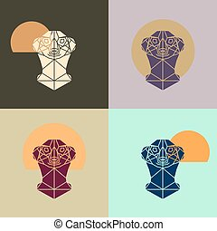 Meerkat head triangular icon , geometric pattern trendy line...
