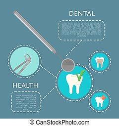 Dental health banner with medical instruments and teeth...