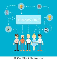 Social network and teamwork banner with group of...