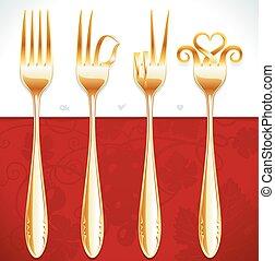 Vector golden fork gestures