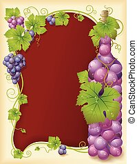 Vector grape frame with bottle - Vector grape frame with...