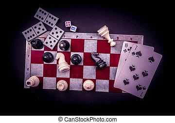 Damas, encima, Estatuillas, vario, tabla, juegos